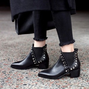 Black Chelsea Boots Studs Block Heel Ankle Boots