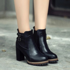 Black Chunky Heel Boots Round Toe Fashion Ankle Boots US Size 3-15