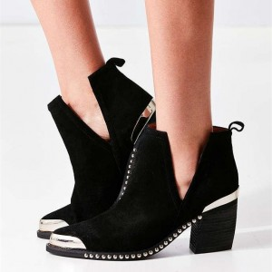 Black Chunky Heel Boots Slip-on Metal Pointy Toe Studded Ankle Booties