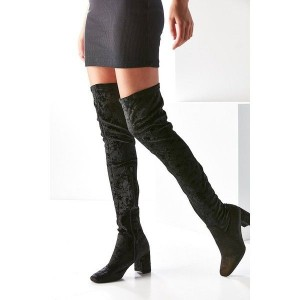 Black Chunky Heel Boots Suede Over-the-knee Boots by FSJ
