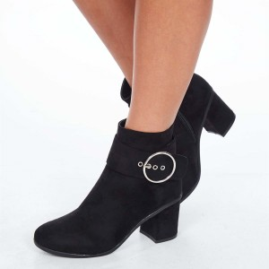 Black Chunky Heel Boots Suede Round Toe Buckle Ankle Booties