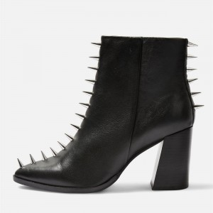 Black Chunky Heel Boots with Rivets