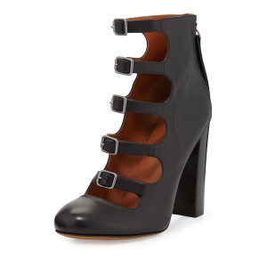 Women's Black Buckle Hollow Out Chunky Heels Shoes