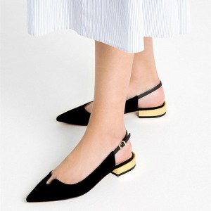 Black Chunky Heels Pointed Toe Slingback Pumps Comfortable Shoes