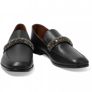 Black Chunky Heels Rhinestone Loafers for Women