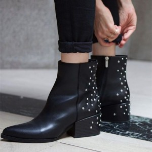 Black Chunky Heels Studs Shoes Ankle Booties with Zipper