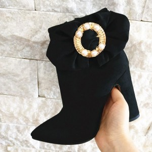 Black Circle Pearl Decorated Chunky Heel Ankle Booties For Women