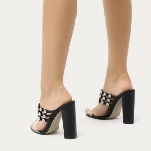 Black Clear Heels Open Toe Mule Comfortable Chunky Heel Sandals