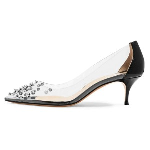 Black Clear Heels Rivets Kitten Heel Pumps