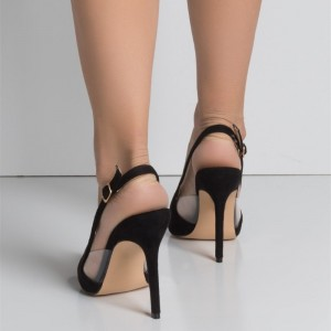 Black Clear Heels Slingback Pumps Pointy Toe Stiletto Heels for Women