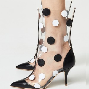 Black Clear PVC Polka Dots Stiletto Heel Ankle Booties