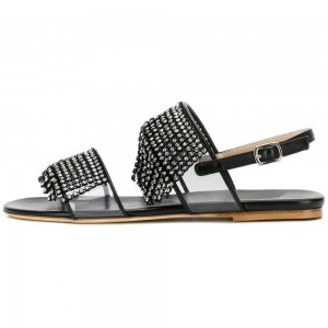 Black Clear PVC Rhinestone Flat Sandals