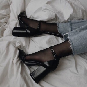 Black Ankle Strap Block Heels Pumps
