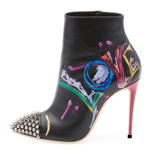 Black Colorful Doodles Rivets Stiletto Heel Ankle Booties