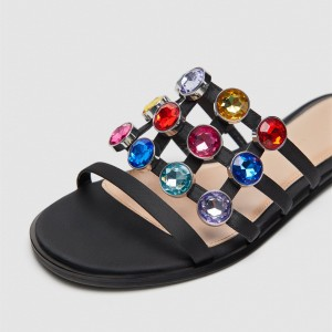 Black Women's Slide Sandals Rhinestone Summer Flat Slides Shoes