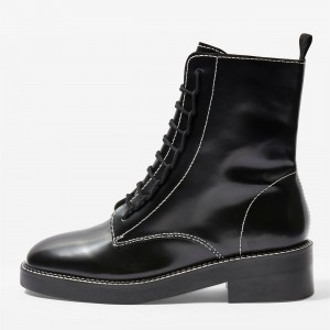 Black Combat Boots Lace Up Round Toe Ankle Boots
