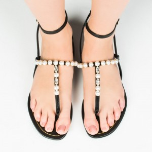 Black Comfortable Flats Jeweled Ankle Strap Sandals