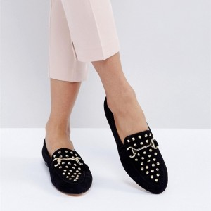 Black Comfortable Flats Suede with Rivets Loafers for Women