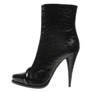 Black Cone Heels Ankle Booties Pointy Toe Fashion Boots