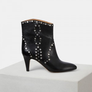 Black Cone Heels Studded Boots  Pointy Toe Ankle Booties
