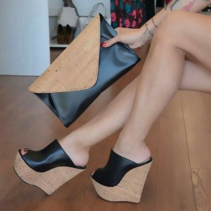 Black Cork Platform Sandals Peep Toe Wedge Heel Mules US Size 3-15