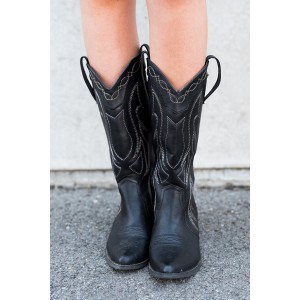 Black Cowgirl Boots Vintage Chunky Heel Mid-calf Boots for Women