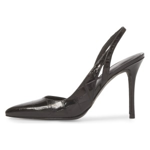 Black Bamboo Grain Pointy Toe Stiletto Heel Slingback Pumps