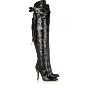 Black Croc Tassel Knee High Heel Boots Pointy Toe Stilettos Long Boots