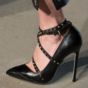 Black Crossed-Over Pointy Toe Stiletto Heels Pumps Studs Shoes