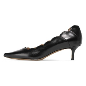 Black Curvy Kitten Heels Pumps