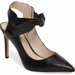 Black Custom Made Bow Heels Pointy Toe Office Pumps