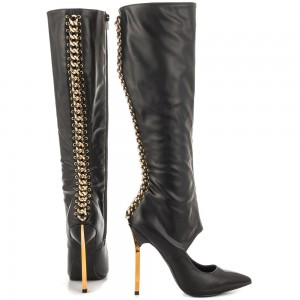 Black Fashion Boots Pointed Toe Gold Stiletto Heels Mid-Calf Boots