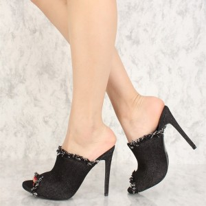 Black Denim Peep Toe Stiletto Heel Mules Sandals