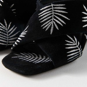 Black Embroidery Suede Cross Over Chunky Heel Mules