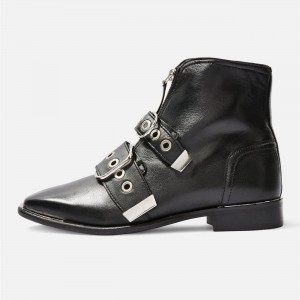 Black Fashion Boots Buckles Ankle Boots
