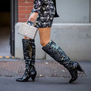 Black Fashion Boots Cone Heel Knee High Boots