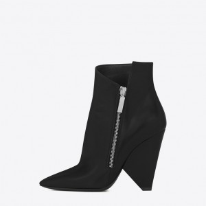 Black Fashion Boots Side Zipper Pointy Toe Cone Heel Ankle Boots