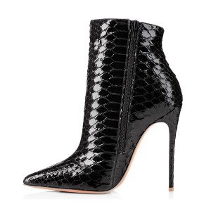Black Vegan Snakeskin Booties Pointy Toe Stiletto Heel Ankle Boots