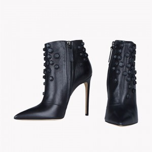Black Studs Shoes Pointy Toe Stiletto Heel Fashion Ankle Booties