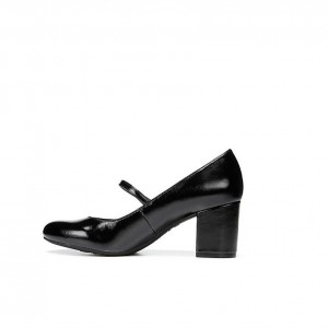 Black Faux Leather Block Heel Mary Jane Pumps