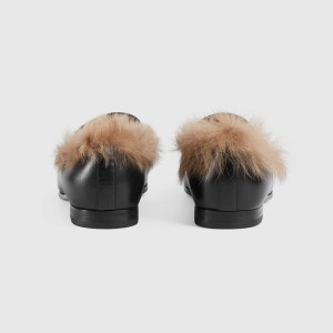 Black Faux Leather Furry Loafers For Women