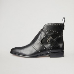 Black Flat Studded Buckles Motorcycle Boots