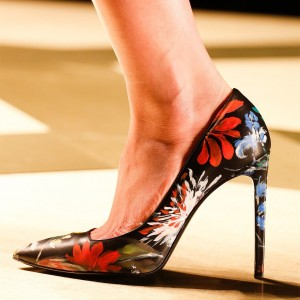Black Floral Heels Pointy Toe Stiletto Heel Pumps