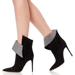 Black Fold Over Rhinestones Pointy Toe Stiletto Heel Ankle Booties