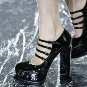 Black Four Strap Buckles Mary Jane Heels Chunky Heel Platform Pumps