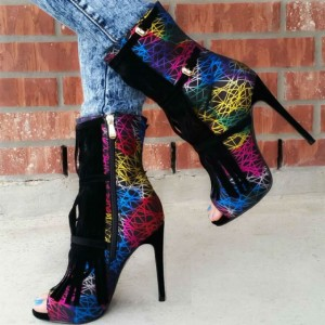 Black Fringe Peep Toe Heels Buckle Stiletto Heels Fashion Boots