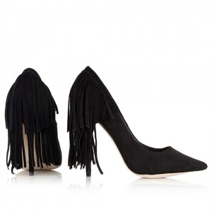 4 inch Heels Black Fringe Stiletto Heels Pointy Toe Pump Shoes