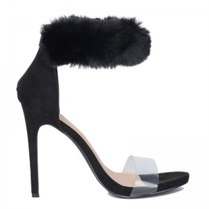 Black Fur Ankle Strap Sandals Open Toe Stiletto Heels Clear Shoes
