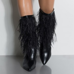 Black Fur Boots Pointy Toe Stiletto Heels Feather Ankle Booties