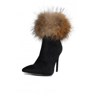 Black Fur Boots Stiletto Heel Ankle Boots